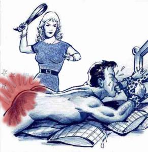 belt spanking over bed