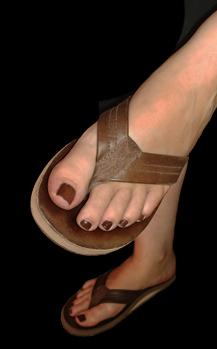 rainbow sandals on feet