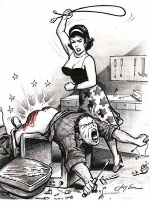 wife spanking husband with a cord