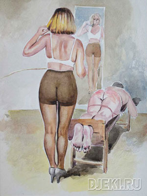 wife caning her husband