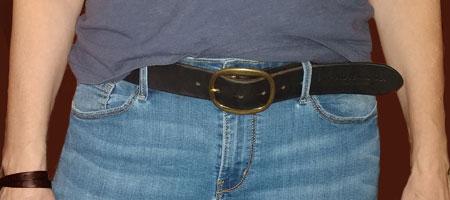 leather belt around woman waist